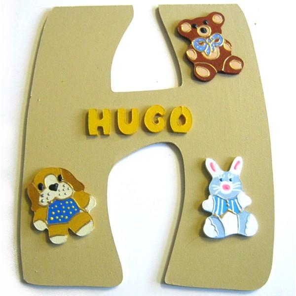Plaque de porte chambre b b gar on lettre bois - Plaque de porte en bois personnalisee ...