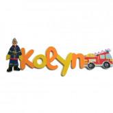Prénom bois décoré pompier