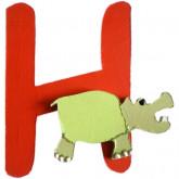 Lettre en bois H comme hippopotame