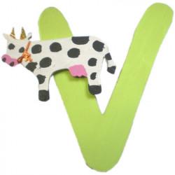 lettre alphabet en bois v d cor e avec une vache lettre bois. Black Bedroom Furniture Sets. Home Design Ideas