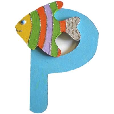 lettre alphabet en bois p d cor e avec un poisson lettre. Black Bedroom Furniture Sets. Home Design Ideas