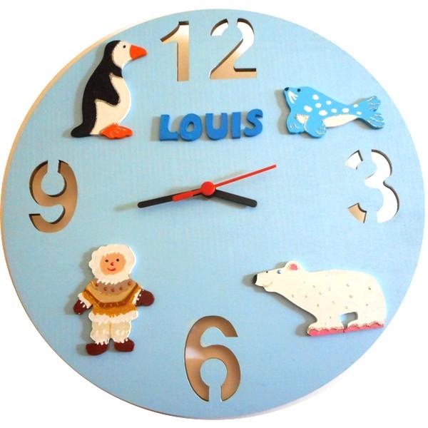 Horloge murale enfant th me banquise lettre bois - Horloge design pour salon ...
