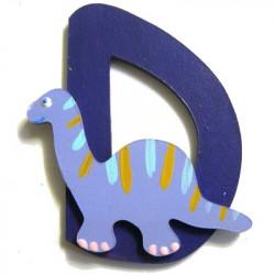 Lettre en bois D comme dinosaure