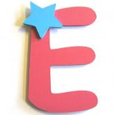 Lettre en bois E comme étoile