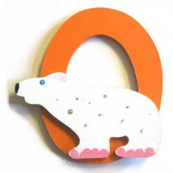 Lettre en bois O comme ours