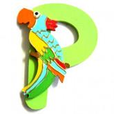 Lettre en bois P comme perroquet