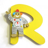 Lettre en bois R comme robot