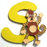 Lettre en bois S comme singe