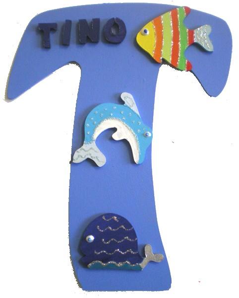 Plaque de porte b b animaux de la mer lettre bois - Plaque de porte design ...