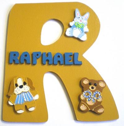 Plaque de porte chambre b b gar on lettre bois for Plaque de porte chambre enfant