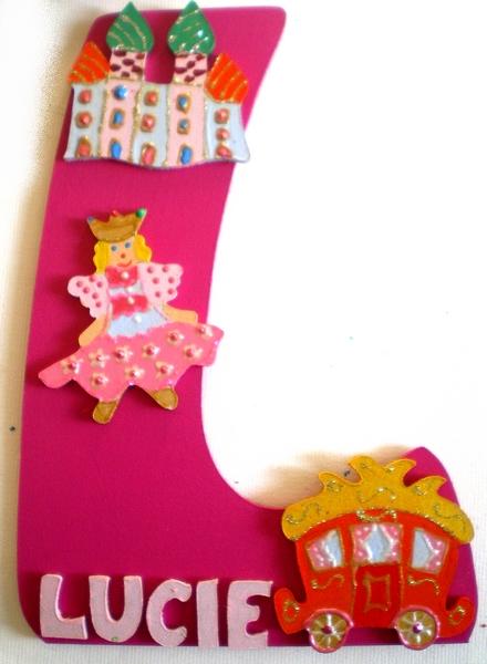 Plaque de porte chambre fille th me princesse lettre bois - Plaque de porte design ...