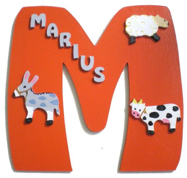 Plaque de porte bois avec pr nom animaux de la ferme lettre bois - Plaque de porte design ...