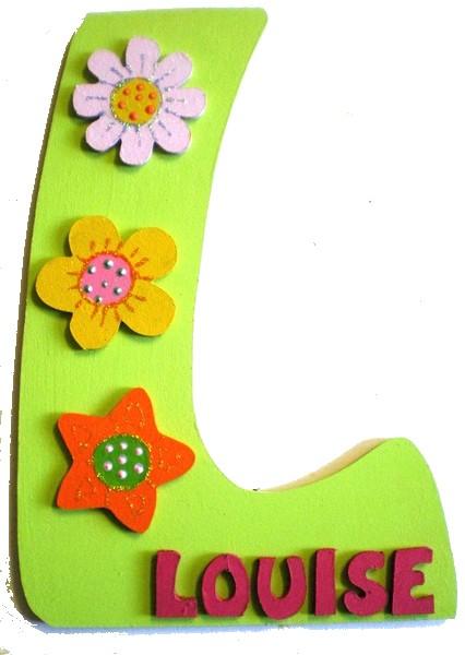 Laque de porte chambre fille d coration fleurs lettre bois - Plaque de porte design ...