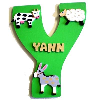 Plaque de porte bois avec pr nom animaux de la ferme lettre bois - Clinique des sports porte des lilas ...