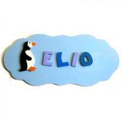 Plaque de porte nuage pingouin