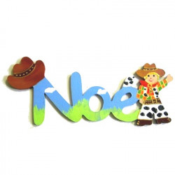 Prénom en bois décoré cowboy