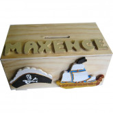 Tirelire en bois pirate