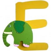 Lettre en bois E comme éléphant
