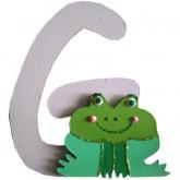 Lettre en bois G comme grenouille