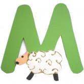 Lettre en bois M comme mouton