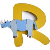 Lettre en bois R comme rhinocéros