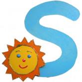 Lettre en bois S comme soleil