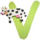 Lettre en bois V comme vache