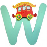 Lettre en bois W comme wagon